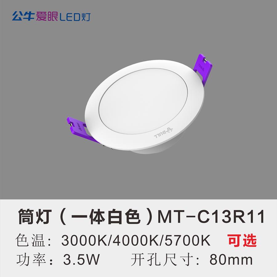 LED筒灯3.5W【一体白色面环】