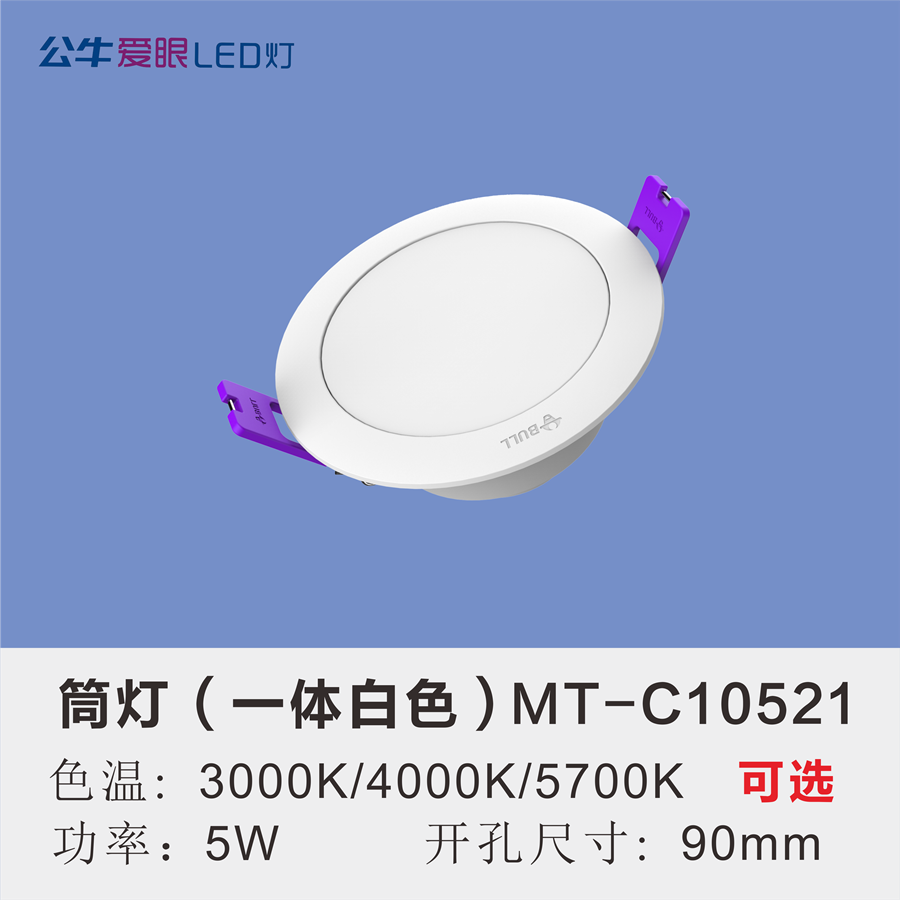 LED筒灯5W【一体白色面环】
