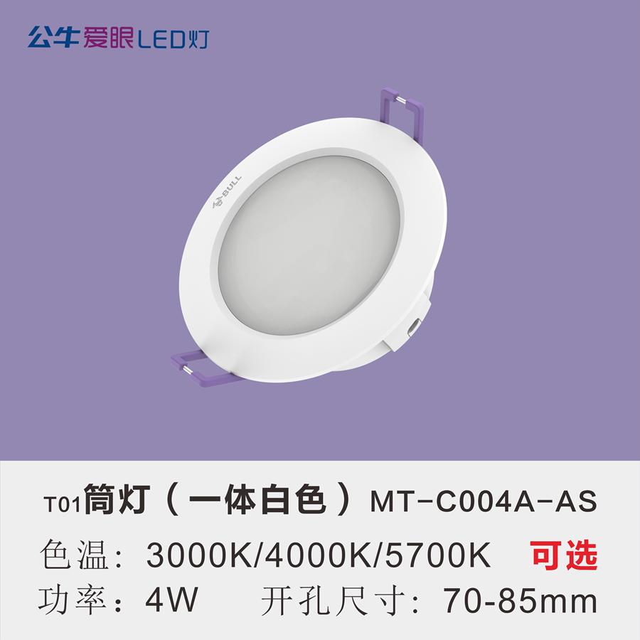 LED筒灯4W【一体白色面环】
