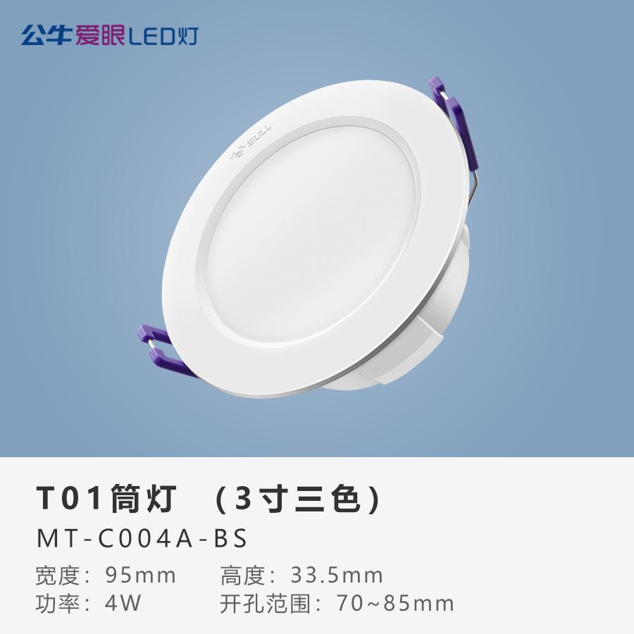 LED筒灯4W【一体白色面环】T01三色