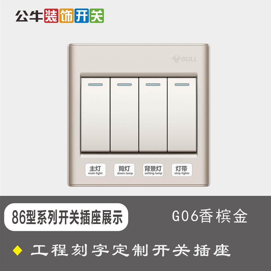 86型墙壁开关插座G06金色工程定制刻字